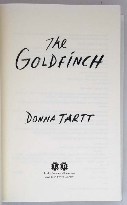 The Goldfinch - Donna Tartt 2013   1st Edition