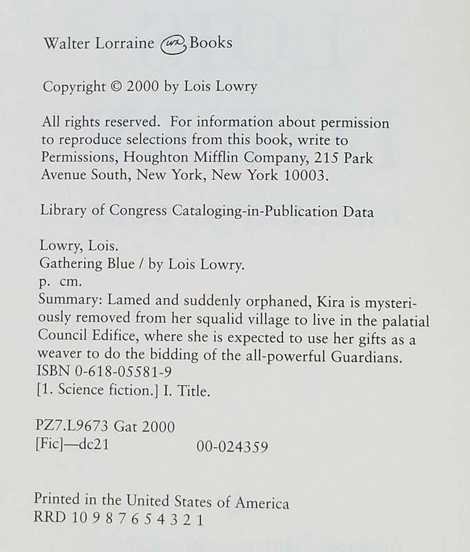 Gathering Blue - Lois Lowry 2000