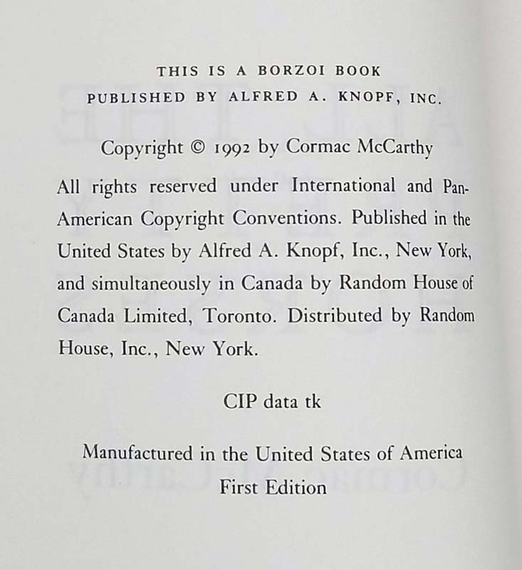 All the Pretty Horses - Cormac McCarthy ARC Uncorected Proof 1992