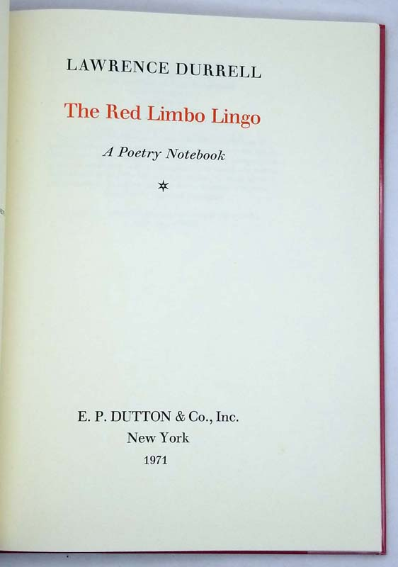 The Red Limbo Lingo - Lawrence Durrell 1971 Limited Edition