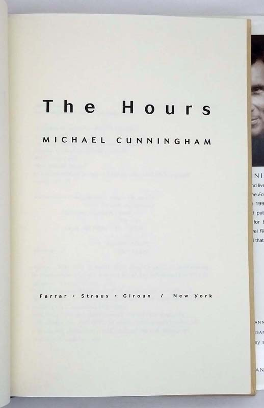 The Hours - Michael Cunningham 1998 SIGNED