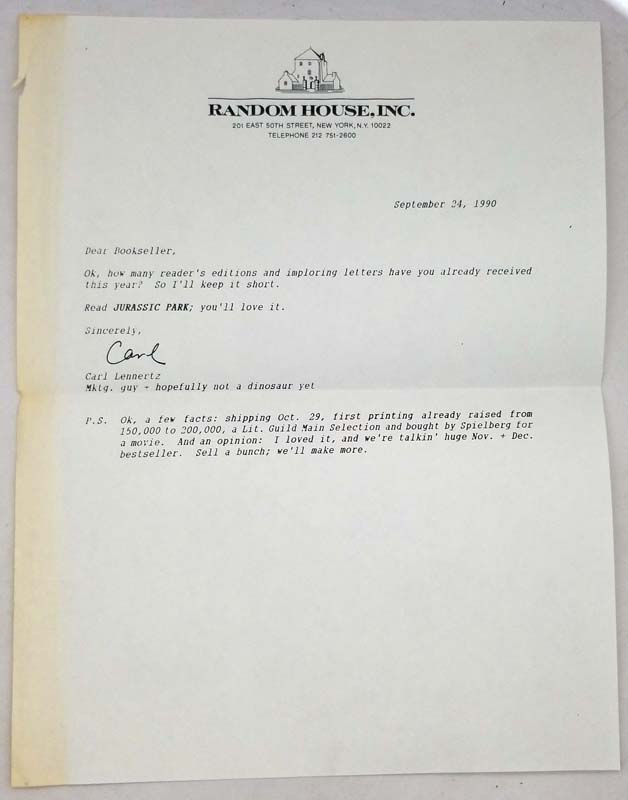 Jurassic Park - Michael Crichton ARC Uncorrected Proof 1990