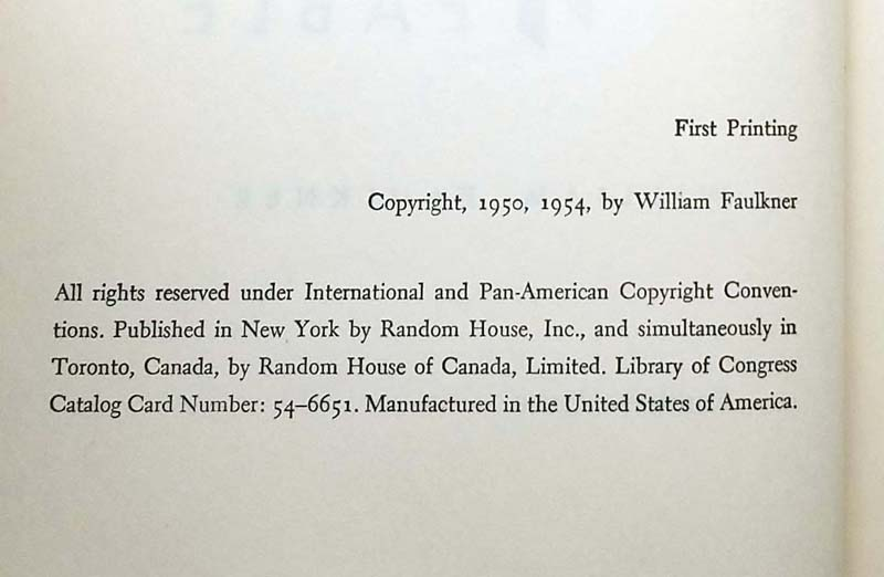 A Fable - William Faulkner 1954 1st Ed.