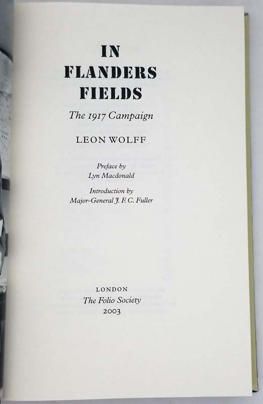 In Flanders Fields - The 1917 Campaign - Leon Wolff 2003 | Folio Society