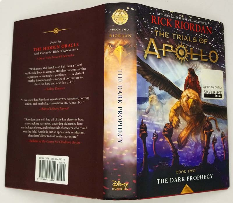 The Trials of Apollo, Book Two: Dark Prophecy - Rick Riordan   1st Edition SIGNED
