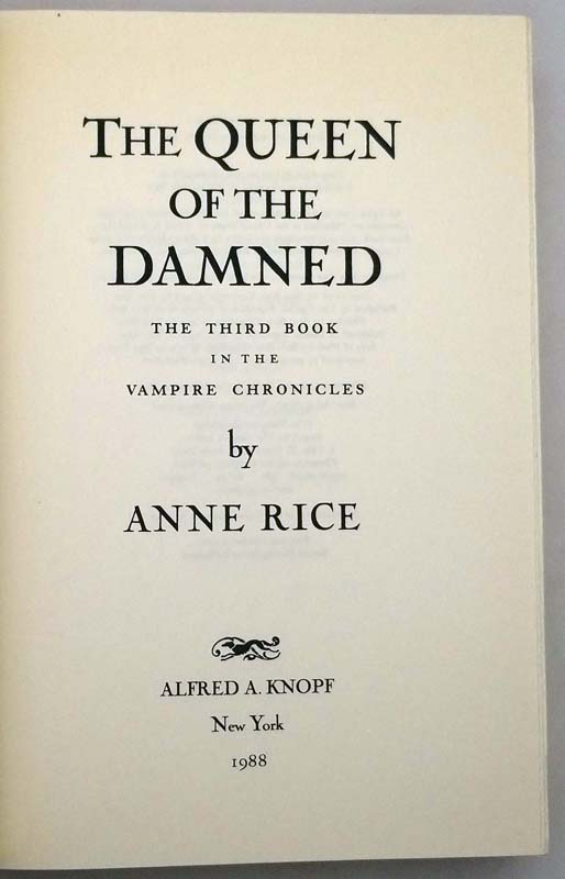 The Queen of the Damned - Anne Rice 1988 SIGNED