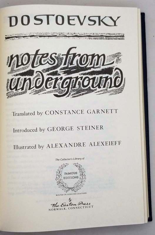 Notes from Underground and The Gambler - Dostoyevsky | Easton Press