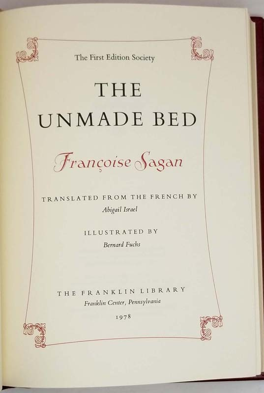 The Unmade Bed - Francoise Sagan 1978 | 1st Edition