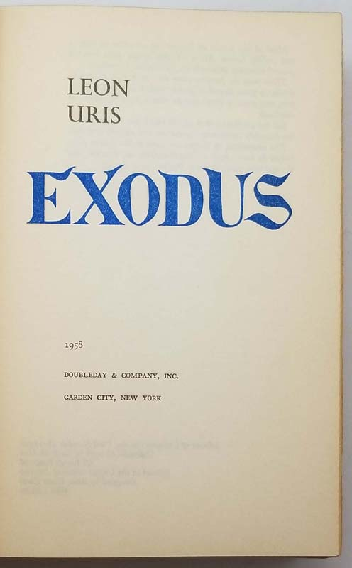 Exodus: A Novel of Israel - Leon Uris 1958 | 1st Edition