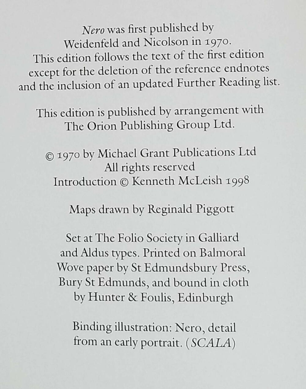 Nero - Michael Grant 1998   Folio Society