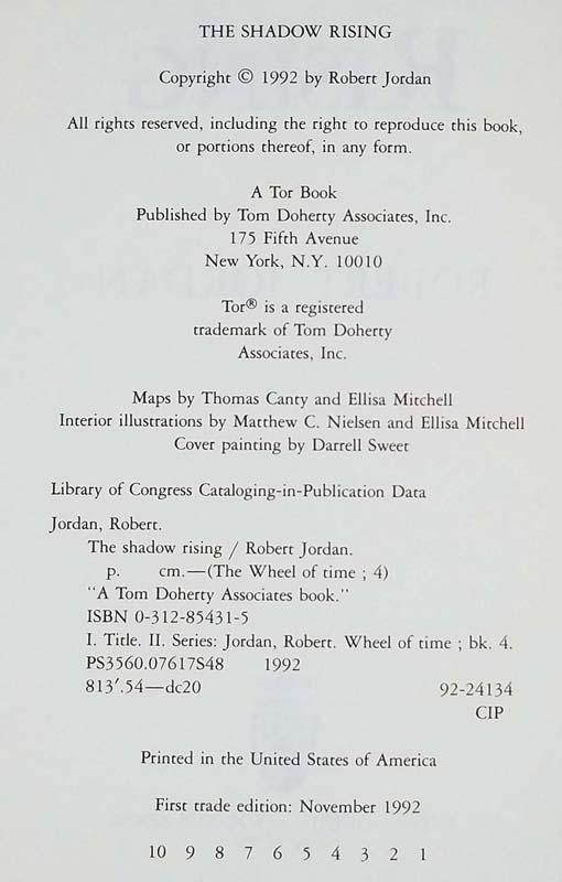 The Shadow Rising - Robert Jordan 1992 | 1st Edition
