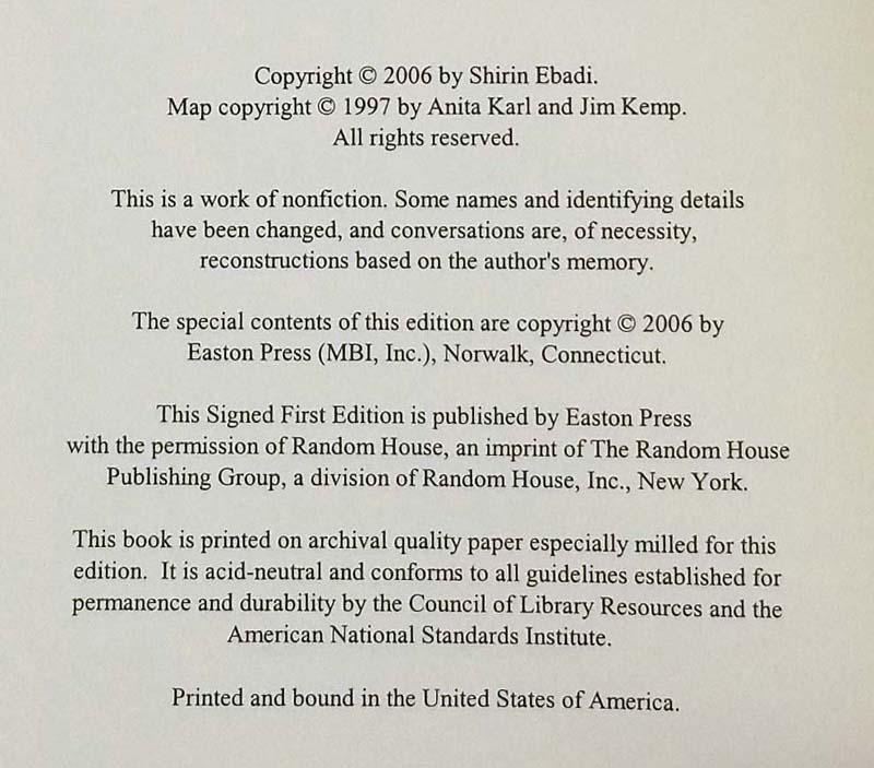 Iran Awakening - Shirin Ebadi 2003 | 1st Edition Easton Press SIGNED