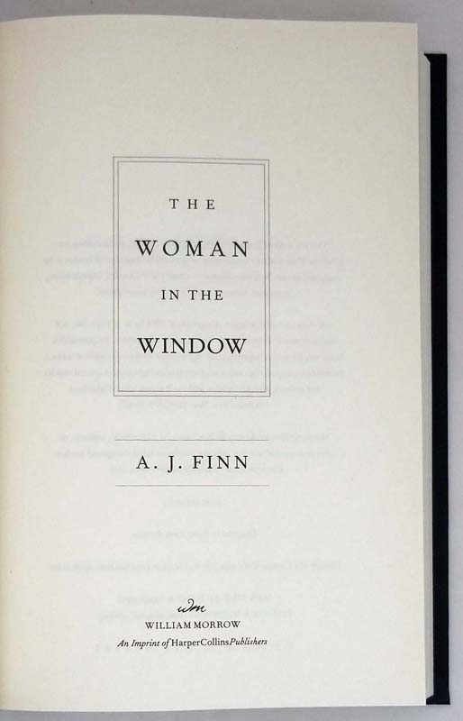 The Woman in the Window - A. J Finn 2018 | 1st Edition