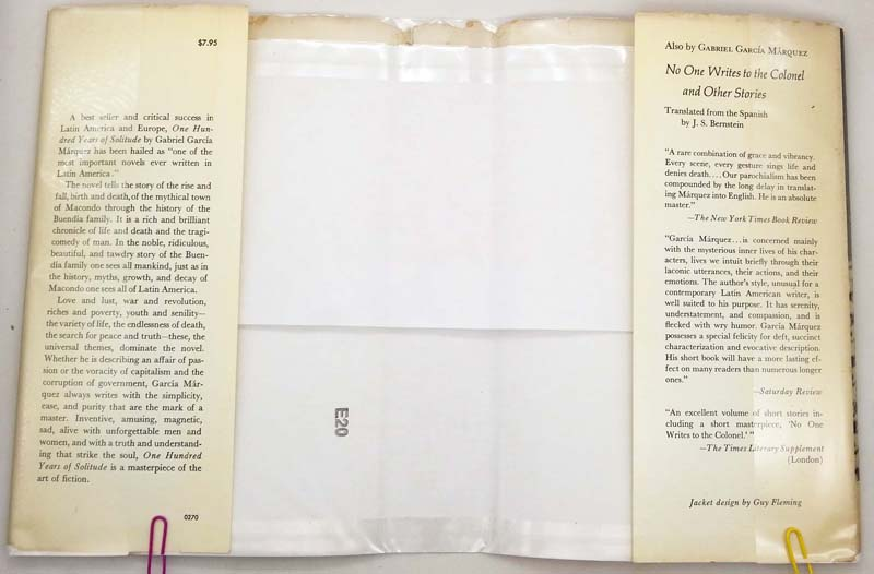 One Hundred Years of Solitude - Gabriel Garcia Marquez 1970   1st Edition
