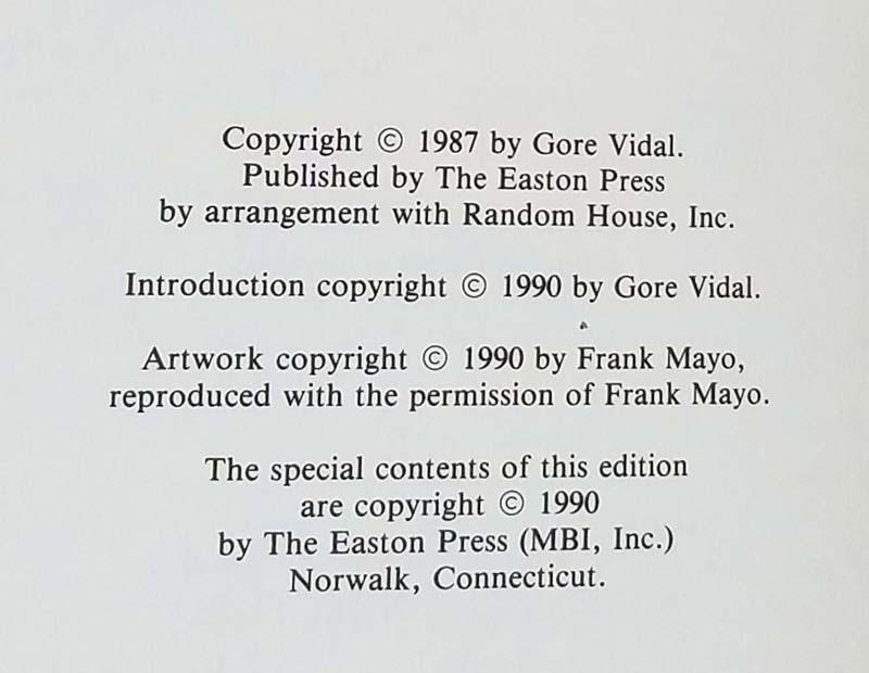 Empire - Gore Vidal 1990 | Easton Press