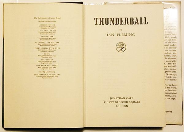 Thunderball - Ian Fleeming 1961   1st Edition