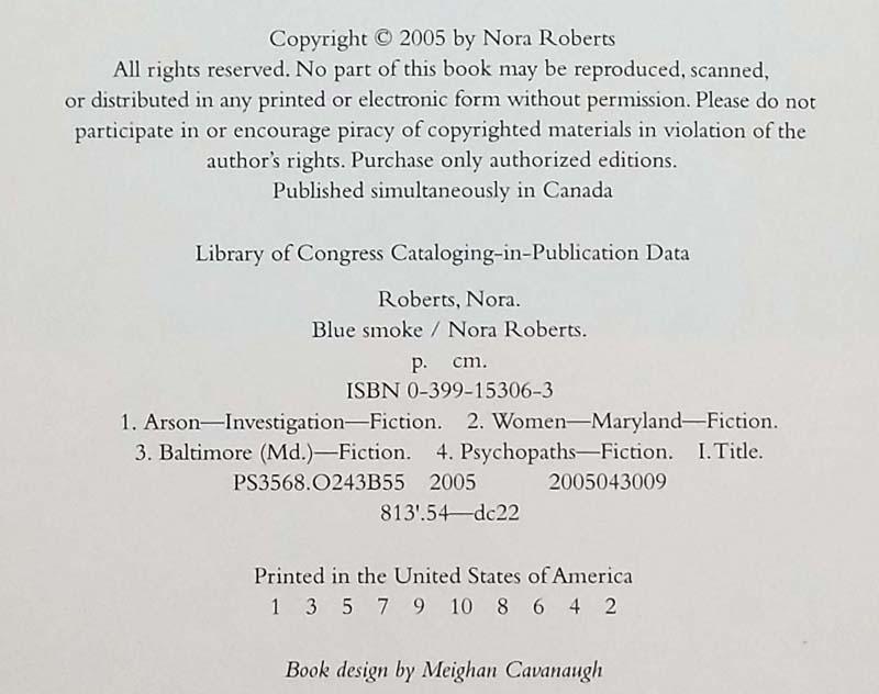 Blue Smoke - Nora Roberts 2005 | 1st Edition SIGNED