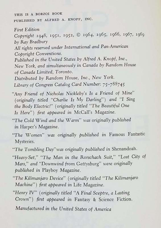 I Sing the Body Electric! - Ray Bradbury 1969 | 1st Edition