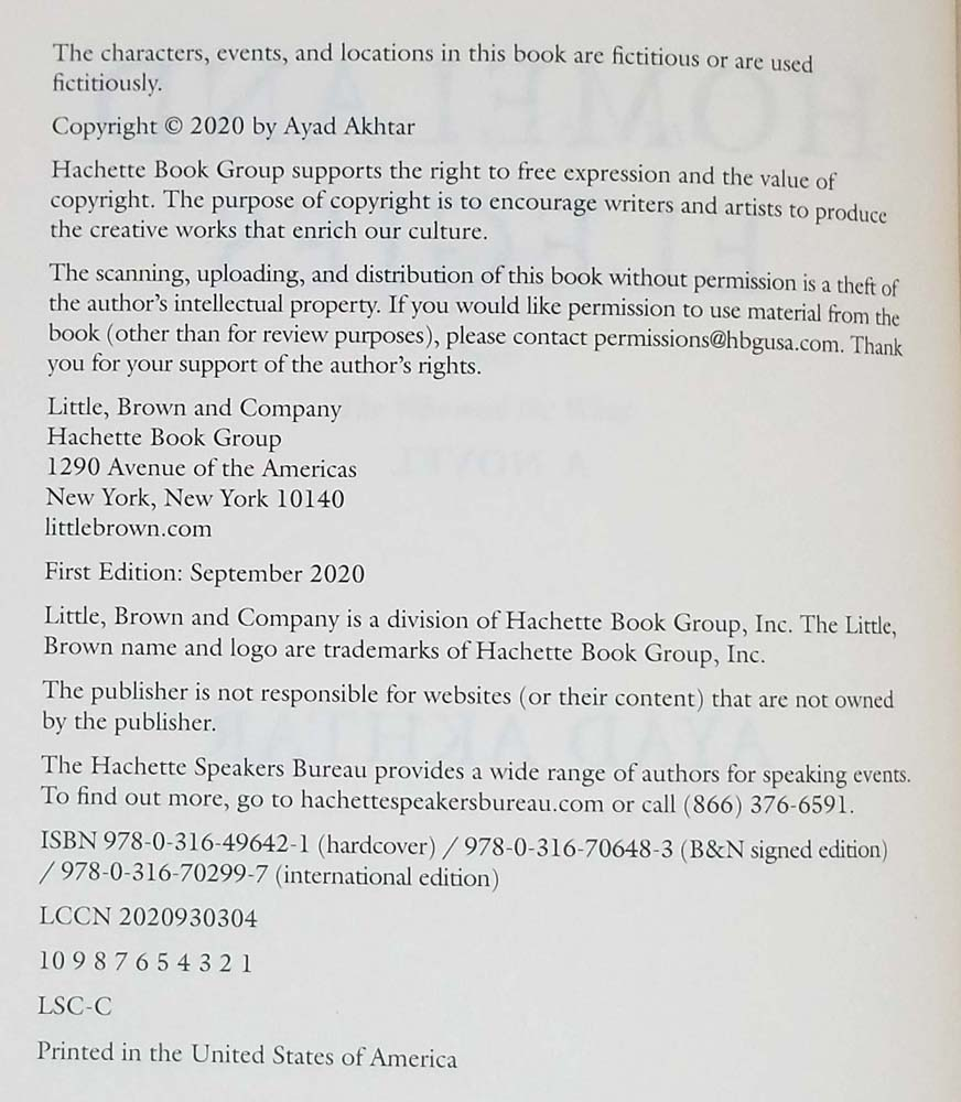 Homeland Elegies - Ayad Akhtar 2020   1st Edition SIGNED