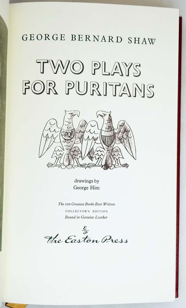 Two Plays for Puritans - George Bernard Shaw | Easton Press 1979