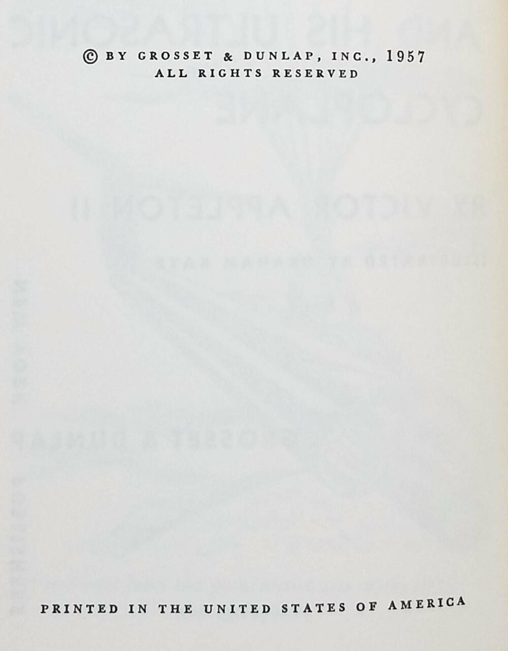 Tom Swift and His Ultrasonic Cycloplane 1957 (Book 10)